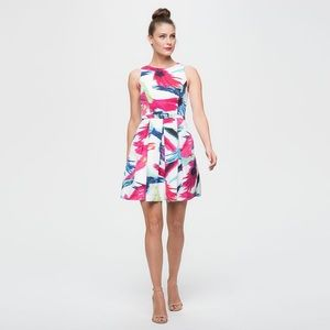 Eliza J Printed Watercolor Belted Fit And Flare 8